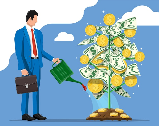 Businessman watering money coin tree with can. growing money tree. investment, investing. gold coins and dollar banknotes on branches. symbol of wealth. business success. flat vector illustration.