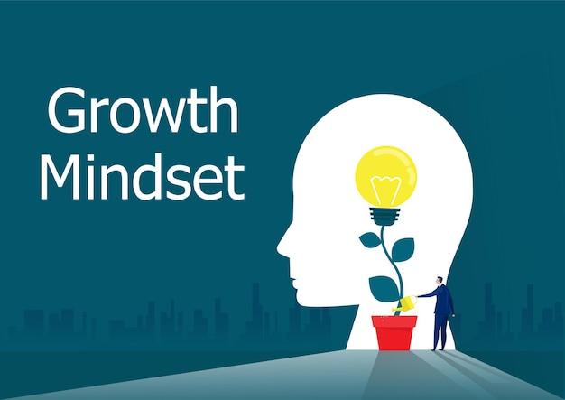 ビジネスマンは、成長の考え方の概念ベクトルを考えるための電球で植物に水をまく