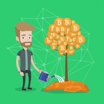 Бизнесмен поливает дерево с биткойн монет.
