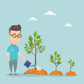 Businessman watering trees illustration.