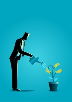 Businessman watering young plant with dollar leaves