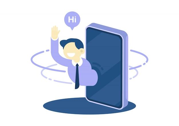 Businessman waving greeting and say hi