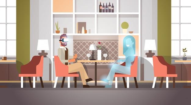 Бизнесмен носить цифровые очки, общение с виртуальной реальности женщина vr vision