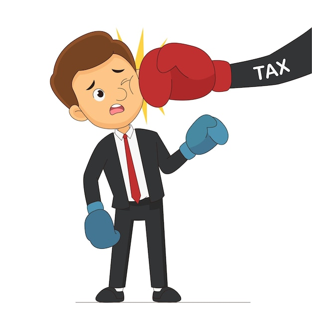 Businessman wearing boxing punch by tax hand
