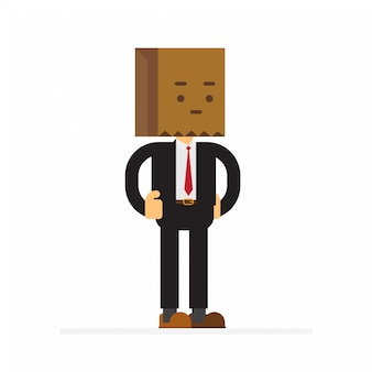 Businessman wearing paper bag hat on his head