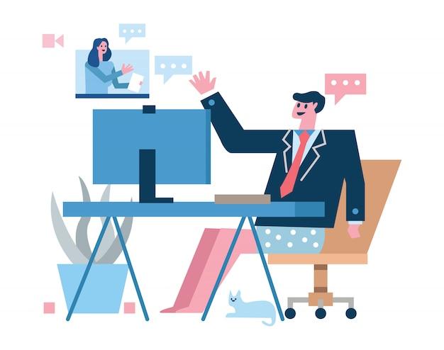Костюмы и шорты бизнесмена нося имея видео в домашнем офисе. домашний карантин концепция дизайна. иллюстрация