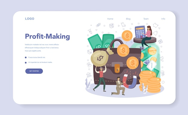 Businessman web banner or landing page. financial achievement in a teamwork. idea of business strategy and planning. management and marketing development. flat vector illustration