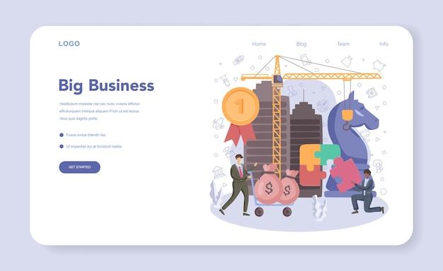 Businessman web banner or landing page. financial achievement