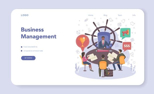 Businessman web banner or landing page. flat vector illustration