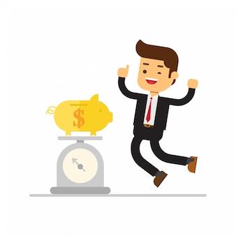 Businessman weighing money on kilo