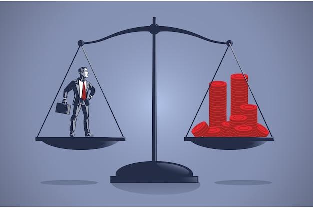 ビジネスマンは、貴重なコインのお金のブルーカラーのイラストの概念の多くに等しい重量