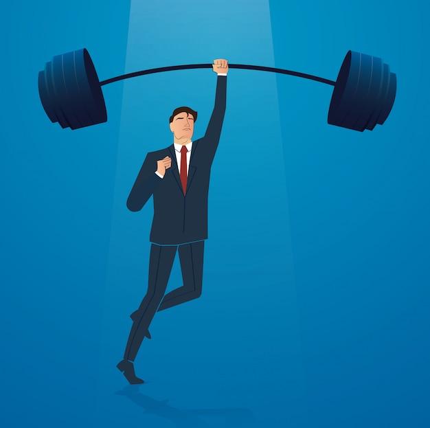 Businessman weight lifting vector