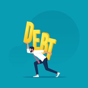 부채 경제 위기 벡터 개념의 큰 부담을 지고 있는 사업가
