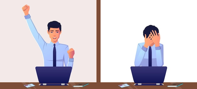Businessman win and lose expressions