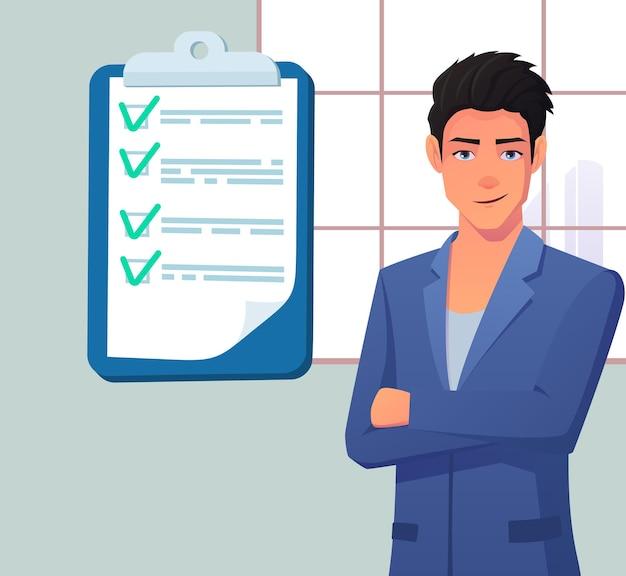 クリップボードの紙にチェックリストを持つビジネスマン。