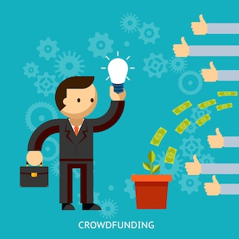 Бизнесмен с отличной идеей, финансируемый толпой с деньгами, льющимися в ведро, с руками, показывающими большие пальцы одобрения, векторная иллюстрация на синем