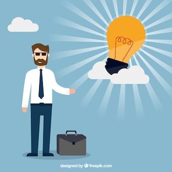 素晴らしいアイデアを持つビジネスマン