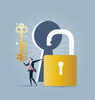 Бизнесмен с ключом в руке и открытым замком