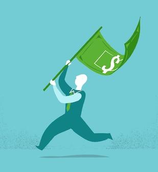 Businessman with a money flag
