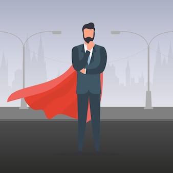 빨간 망토와 사업가입니다. 양복을 입은 남자가 생각을 하고 있습니다. 성공적인 기업가의 개념입니다. 벡터.