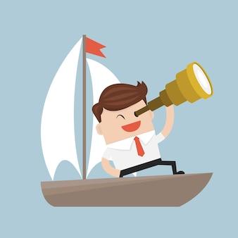 Бизнесмен с spyglass на лодке.