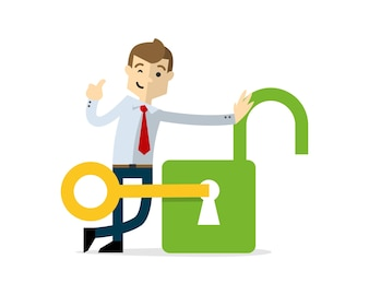 Businessman with an opened padlock