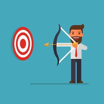 Businessman with archery bow