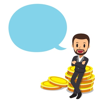 Businessman with big coin stack and speech bubble
