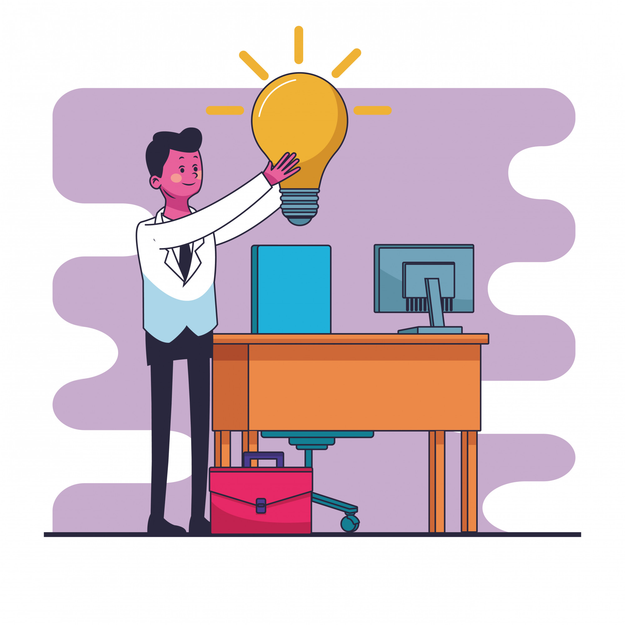 Businessman with big idea at office vector illustration graphic design