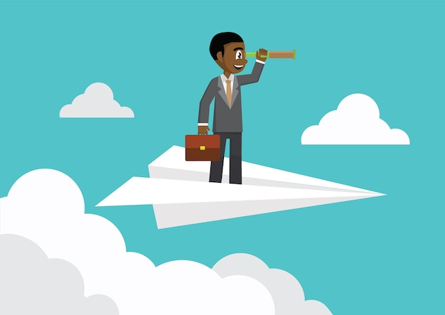 Businessman with binoculars on paper plane in the sky.