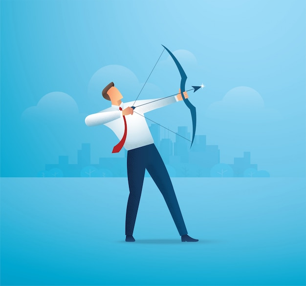 Businessman with bow aiming the target