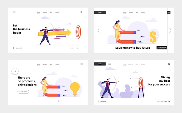 Businessman with bow and arrow aiming target concept landing page set