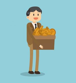 Бизнесмен с коробчатыми монетами