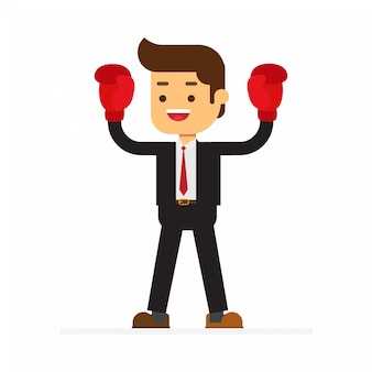 Businessman with boxing gloves is winner