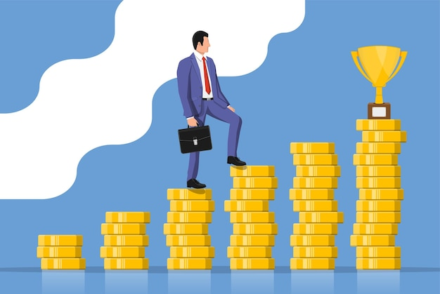 Businessman with briefcase goes to golden trophy goal. business man look up to the target on coin chart ladder. success, achievement, business vision career goal. flat vector illustration