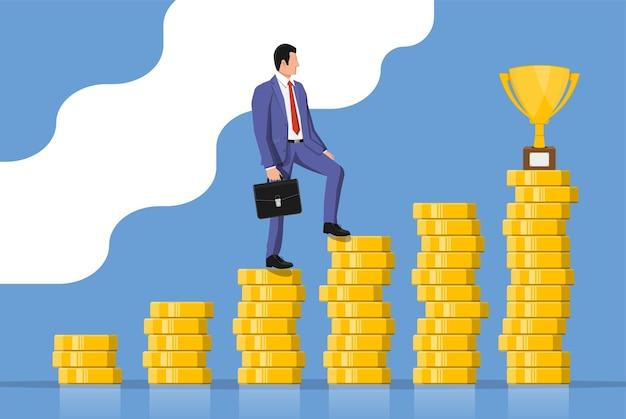 서류 가방을 든 사업가는 황금 트로피 목표를 향해 간다. 비즈니스 남자는 동전 차트 사다리에서 대상을 찾습니다. 성공, 성취, 비즈니스 비전 경력 목표. 평면 벡터 일러스트 레이 션