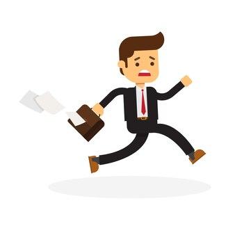 Предприниматель с портфелем в конце работы