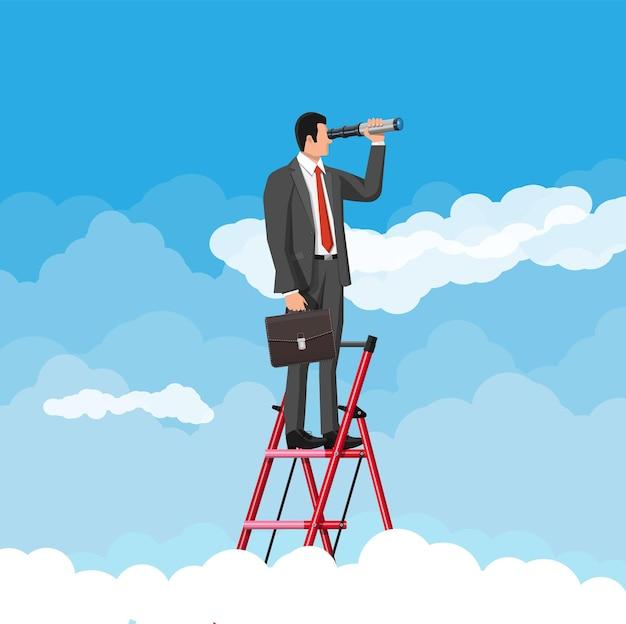 Бизнесмен с портфелем на лестнице ищет возможности в подзорную трубу. деловой человек смотрит на цель. успех, достижение, бизнес-видение, карьерная цель. плоские векторные иллюстрации