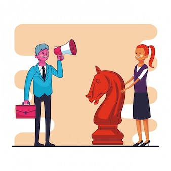 Businessman with bullhorn and briefcase and businesswoman with chess piece vector illustration graph