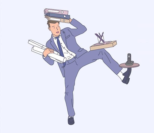 Бизнесмен с иллюстрацией концепции управления бизнесом.