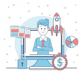 Businessman with business symbols cartoon