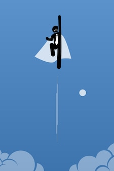 Businessman with cape flying up to the sky.  artwork illustration depicts power, breakthrough, quantum leap, and success.