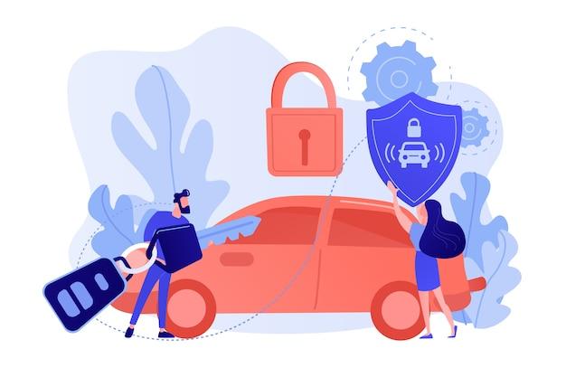 車のリモートキーを持つビジネスマンと南京錠付きの車でシールドを持つ女性。カーアラームシステム、盗難防止システム、車両盗難統計の概念