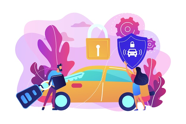 Businessman with car remote key and woman with shield at car with padlock. car alarm system, anti-theft system, vehicle thefts statistics concept. bright vibrant violet  isolated illustration