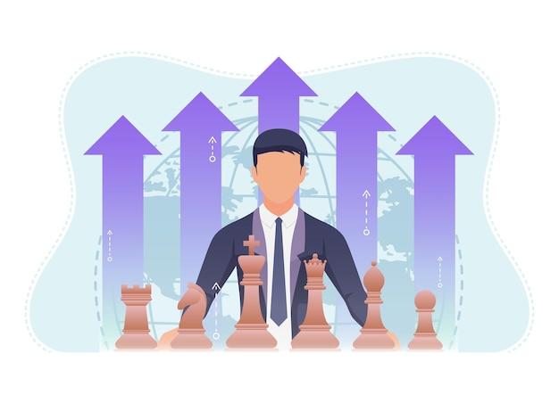 チェスの駒と成長金融矢印を持つビジネスマン。ビジネス戦略とリーダーシップの概念。