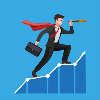 Businessman with cloak using telescope on graphic chart. concept for forecast, prediction, success, business planning in cartoon flat illustration