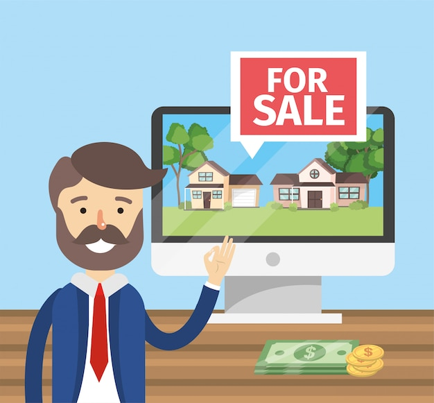 Businessman with computer to sale houses property