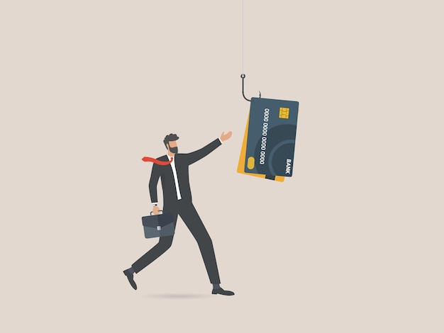 Businessman with credit card on fishing hook