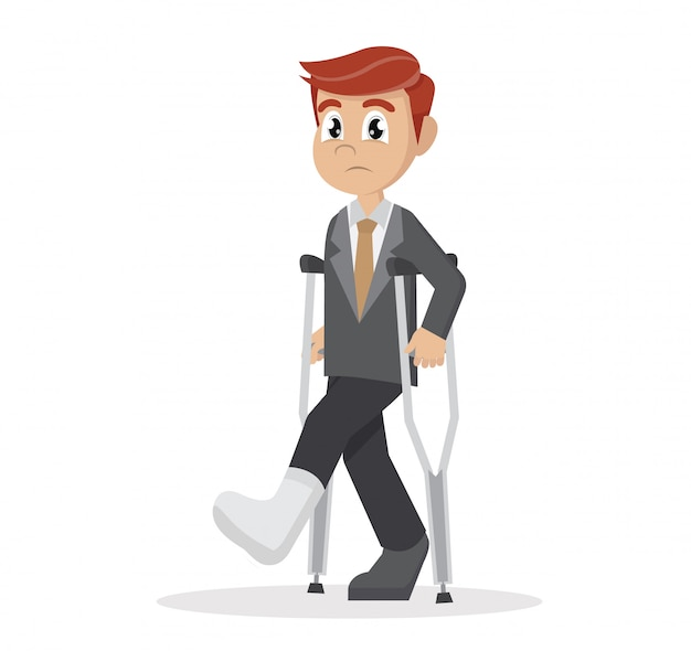 Businessman with crutches and a plaster on his leg.