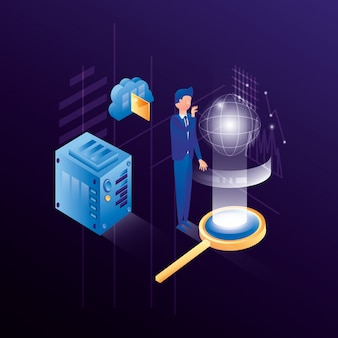 Businessman with data center network icons